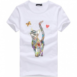 3D Cat Butterfly Series Fashion Personality Casual Cotton Short-Sleeved T-shirt for Men - White (3XL)