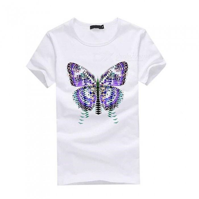 3D Gradient Butterfly Pattern Fashion Personality Casual Cotton Short-Sleeved T-Shirt for Men - White (L)Tees<br>Form  ColorWhiteSizeLQuantity1 DX.PCM.Model.AttributeModel.UnitShade Of ColorWhiteMaterialCottonShoulder Width48 DX.PCM.Model.AttributeModel.UnitChest Girth96 DX.PCM.Model.AttributeModel.UnitSleeve Length19.5 DX.PCM.Model.AttributeModel.UnitTotal Length67 DX.PCM.Model.AttributeModel.UnitSuitable for Height170 DX.PCM.Model.AttributeModel.UnitPacking List1 x Short sleeve T-shirt<br>