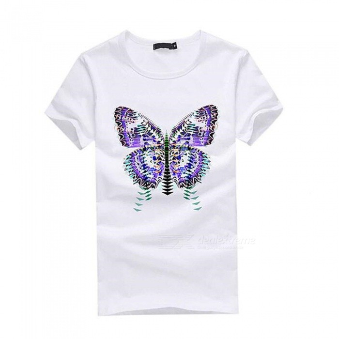 3D Gradient Butterfly Pattern Fashion Personality Casual Cotton Short-Sleeved T-Shirt for Men - White (XL)Tees<br>Form  ColorWhiteSizeXLQuantity1 DX.PCM.Model.AttributeModel.UnitShade Of ColorWhiteMaterialCottonShoulder Width50 DX.PCM.Model.AttributeModel.UnitChest Girth100 DX.PCM.Model.AttributeModel.UnitSleeve Length20 DX.PCM.Model.AttributeModel.UnitTotal Length69 DX.PCM.Model.AttributeModel.UnitSuitable for Height175 DX.PCM.Model.AttributeModel.UnitPacking List1 x Short sleeve T-shirt<br>