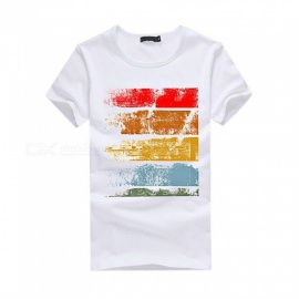 3D Color Bar Pattern Fashion Personality Casual Cotton Short-Sleeved T-Shirt for Men - White (L)