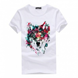 3D Wolf Pattern Fashion Personality Casual Cotton Short-Sleeved T-shirt for Men - White (L)