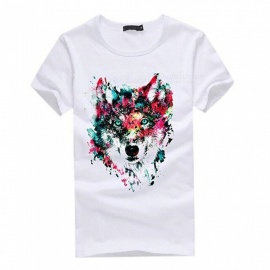 3D Wolf Pattern Fashion Personality Casual Cotton Short-Sleeved T-shirt for Men - White (3XL)
