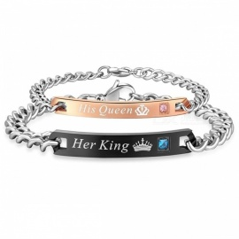 AZIZ BEKKAOUI Couple Bracelets Her King His Queen Style Stainless Steel Crytal Crown Charm Bracelets for Women Men black bracelet