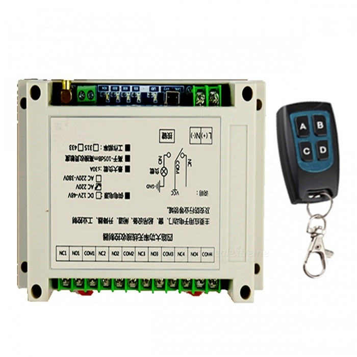 Four Road High-Power Wireless Receiver Controller Used For Electric Doors, Windows, Gate and Security ProductsTransmitters &amp; Receivers Module<br>Form  ColorWhite + Reed Green + Multi-ColoredModelDC-1204Quantity1 DX.PCM.Model.AttributeModel.UnitMaterialPlasticWorking Voltage   DC 12~48 DX.PCM.Model.AttributeModel.UnitDownload Link   noPacking List1 x Set of Controller<br>