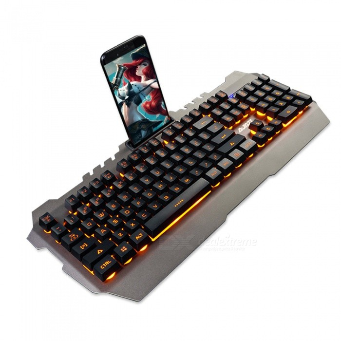 AJAZZ Waterproof Metal Panel Mechanical Hand Feeling Game Keyboard with Backlight / Mobile Phone Bracket - GoldenGaming Keyboards<br>Form  ColorBlack GreyMaterialPlasticQuantity1 DX.PCM.Model.AttributeModel.UnitInterfaceUSB 3.0,USB 2.0Wireless or WiredWiredBluetooth VersionNoCompatible BrandAPPLE,Dell,HP,Toshiba,Acer,Lenovo,Samsung,MSI,Sony,IBM,Asus,Thinkpad,Huawei,GoogleAxis104Tracking MethodTouch PadBack-litYesPowered ByUSBBattery included or notNoCharging Time0 DX.PCM.Model.AttributeModel.UnitWaterproofYesTypeGaming,ErgonomicSupports SystemWin xp,Win 2000,Win 2008,Win vista,Win7 32,Win7 64,Win8 32,Win8 64,MAC OS XPacking List1 x Keyboard (not mechanical keyboard)1 x Instruction<br>