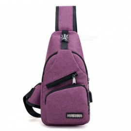 2017 New USB Design Canvas Large Chest Bag, Crossbody Sling Bag, Sports Shoulder Bag for Men & Women   Purple Color