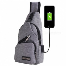 2017 New USB Design Canvas Large Chest Bag, Crossbody Sling Bag, Sports Shoulder Bag for Men & Women   Light gray