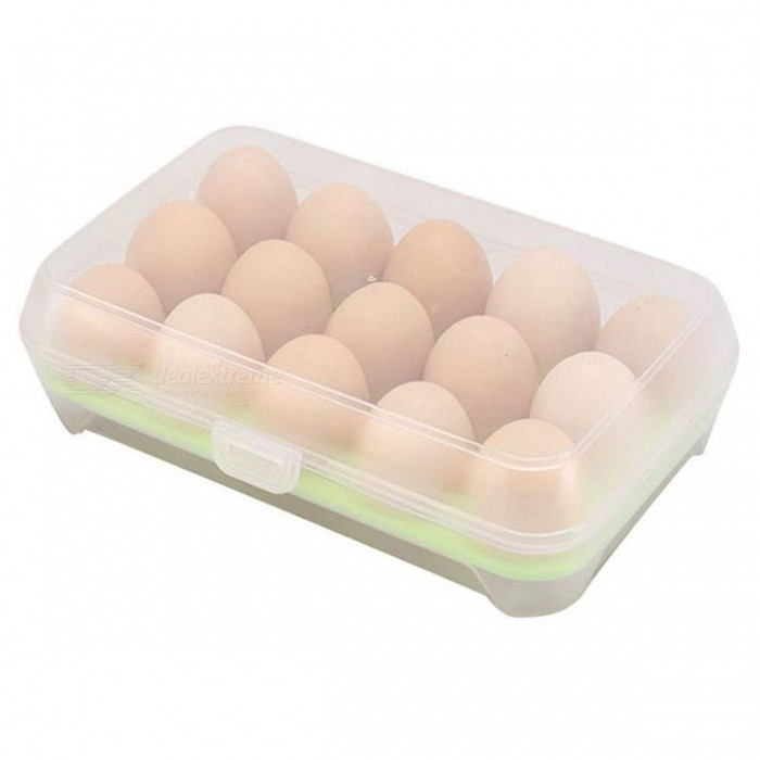 P-TOP 15 Compartment Egg Storage Case Holder Anti-Collision Food Grade ABS Refrigerator Crisper Box Kitchen Supplies - GreenForm  ColorGreenShade Of ColorGreenMaterialABSQuantity1 DX.PCM.Model.AttributeModel.UnitPacking List1 x Egg Container (This Product Does Not Contain Eggs)<br>