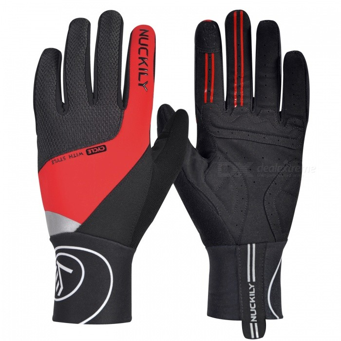NUCKILY PD05 Winter Unisex Shockproof Touch Screen Long Full Finger Gloves for Outdoor Sport Bicycle Cycling Riding - Red (L)Gloves<br>Form  ColorRedSizeLModelPD05Quantity1 DX.PCM.Model.AttributeModel.UnitMaterial40% polyester 40% Nylon 20% PUTypeFull-Finger GlovesSuitable forAdultsGenderUnisexPalm Girth10.5 DX.PCM.Model.AttributeModel.UnitGlove Length26.5 DX.PCM.Model.AttributeModel.UnitBest UseCycling,Mountain Cycling,Recreational Cycling,Road Cycling,Triathlon,Bike commuting &amp; touringPacking List1 x Pair of gloves<br>