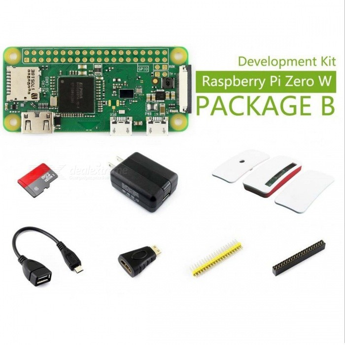 Waveshare Raspberry Pi Zero W Development KitRaspberry Pi<br>Form  ColorRaspberry Pi Zero W Package BModelN/AQuantity1 DX.PCM.Model.AttributeModel.UnitMaterialABS, RF4English Manual / SpecNoDownload Link   NoPacking List1 x Raspberry Pi Zero W 1 x Mini HDMI to HDMI Adapter1 x Micro USB OTG Cable1 x 2x20-pin 2.54 male pinheader strip1 x 2x20-pin 2.54 female pinheader strip1 x Micro SD Card 16GB1 x Power adapter US standard 5V/2.5A USB output1 x USB type A plug to micro B plug cable1 x Raspberry Pi Zero Case<br>