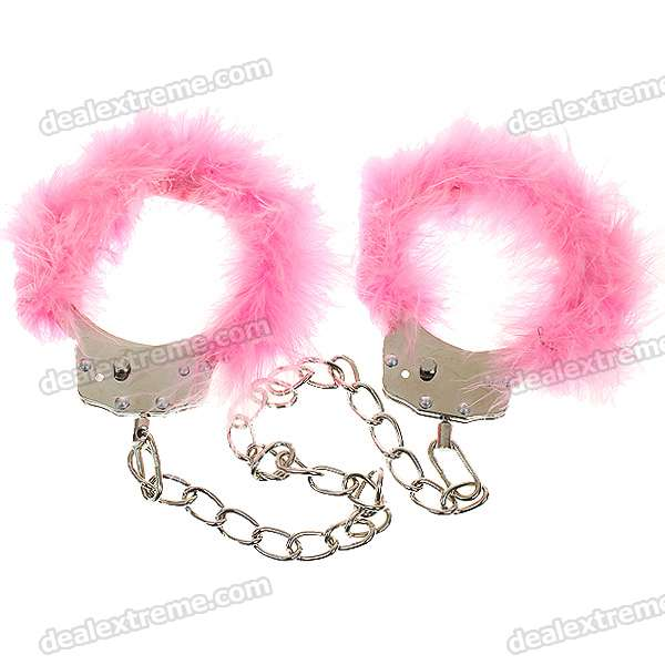 Soft Fluffy Feathers Decoration Romantic Love-Cuffs Metal Handcuff Footcuff - Color Assorted