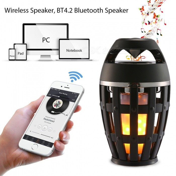ZHAOYAO Outdoor Portable Waterproof Stereo Bluetooth Speaker w/ LED Flame Atmosphere Lamp for Dancing Party