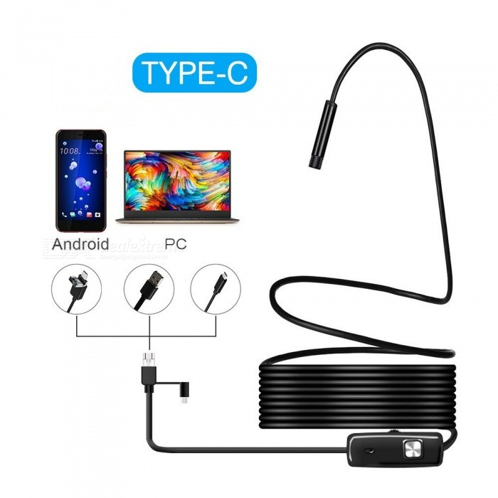 BLCR 3-in-1 5.5mm 6-LED Waterproof USB Type-C Android PC Endoscope (5M)Microscopes &amp; Endoscope<br>Snake Cable Length5m (hard wire)ModelN/AQuantity1 pieceForm  ColorBlackMaterialPlasticCamera Pixels0.3MP ON phone,1.3MP ON ComputerCompatible OSAndroid (with type C port)/Windows 2000 / XP / Vista / 7 / 8 / 10, MacBook OSCamera head outer diameter5.5mmLED Bulb Qty6Packing List1 x Mini Endoscope1 x Hook1 x Magnet1 x Mirror<br>