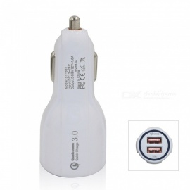 QC3.0 Dual USB 5V 3.1A Quick Charge Fast Charge Car Charger - White