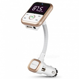KELIMA BT67 Car Bluetooth Hands-Free Kit w/ FM Transmitter, MP3 Player, Charger - Golden