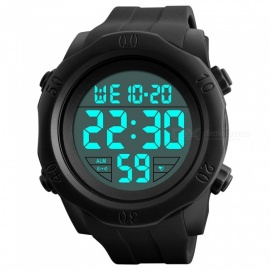 SKMEI 1305 50M Waterproof Men's Digital Display Sport Watch With EL Light - Black