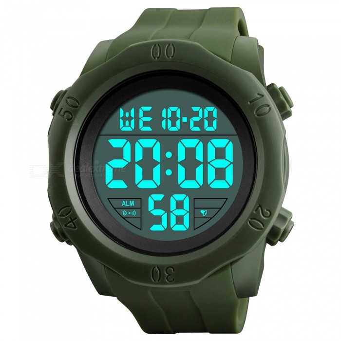 SKMEI 1305 50M Waterproof Mens Digital Display Sport Watch With EL Light - Army GreenSport Watches<br>Form  ColorArmy GreenModel1305Quantity1 DX.PCM.Model.AttributeModel.UnitShade Of ColorGreenCasing MaterialABSWristband MaterialSILICA GELSuitable forAdultsGenderMenStyleWrist WatchTypeFashion watchesDisplayDigitalBacklightEL LightMovementDigitalDisplay Format12/24 hour time formatWater ResistantWater Resistant 5 ATM or 50 m. Suitable for swimming, white water rafting, non-snorkeling water related work, and fishing.Dial Diameter5.5 DX.PCM.Model.AttributeModel.UnitDial Thickness1.6 DX.PCM.Model.AttributeModel.UnitWristband Length25 DX.PCM.Model.AttributeModel.UnitBand Width2.2 DX.PCM.Model.AttributeModel.UnitBattery1 x CR2032Packing List1 x SKMEI 1305 Watch<br>
