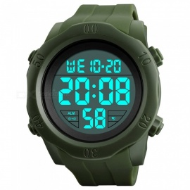 SKMEI 1305 50M waterproof herenhorloge met digitale display en EL-licht - legergroen