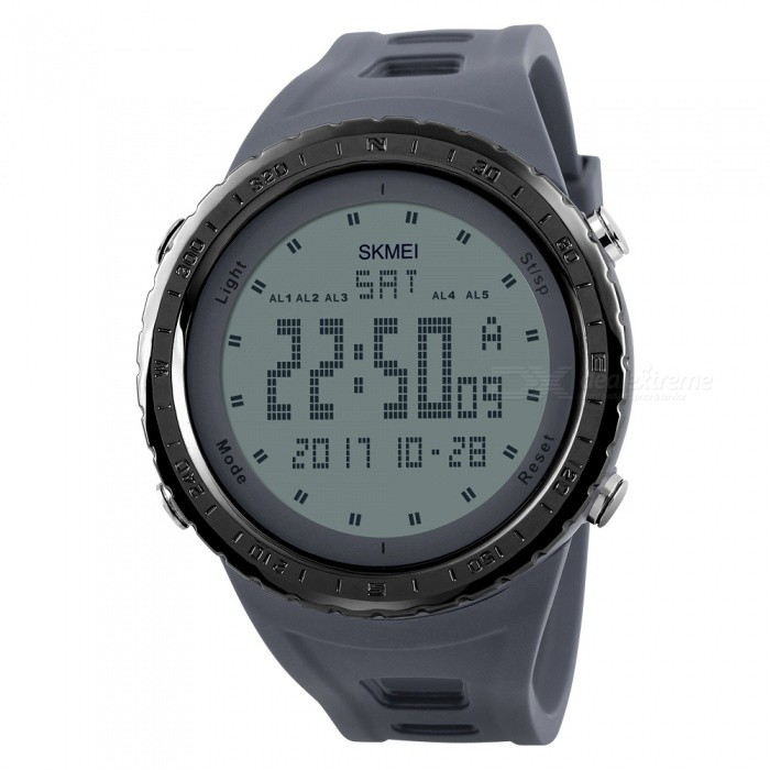 SKMEI 1246 Mens 50M Waterproof Digital Dual Time Sports Watch with EL Light - GraySport Watches<br>Form  ColorGreyModel1246Quantity1 DX.PCM.Model.AttributeModel.UnitShade Of ColorGrayCasing MaterialPCWristband MaterialPUSuitable forAdultsGenderMenStyleWrist WatchTypeFashion watchesDisplayDigitalBacklightEL LightMovementDigitalDisplay Format12/24 hour time formatWater ResistantWater Resistant 5 ATM or 50 m. Suitable for swimming, white water rafting, non-snorkeling water related work, and fishing.Dial Diameter4.9 DX.PCM.Model.AttributeModel.UnitDial Thickness1.4 DX.PCM.Model.AttributeModel.UnitWristband Length26.5 DX.PCM.Model.AttributeModel.UnitBand Width2.2 DX.PCM.Model.AttributeModel.UnitBattery1 x CR2032Packing List1 x SKMEI 1246 Watch<br>