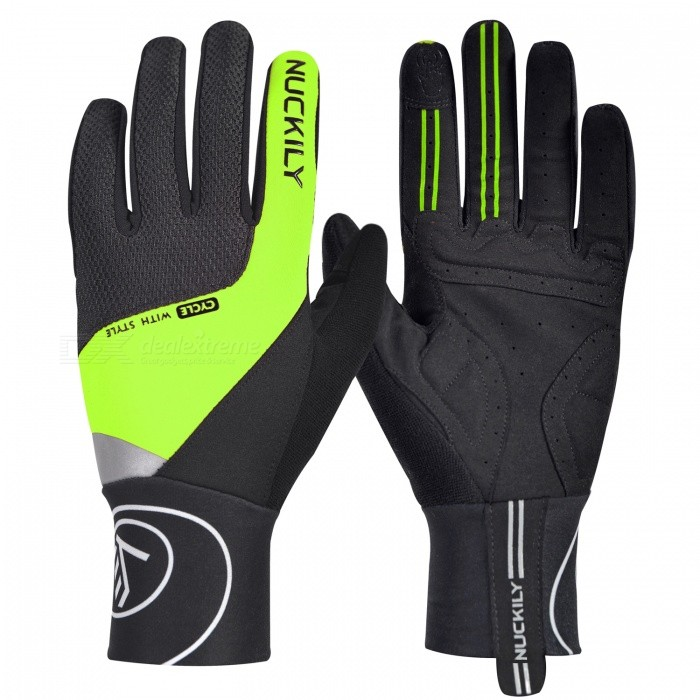 NUCKILY PD05 Winter Unisex Shockproof Touch Screen Full Finger Gloves for Outdoor Sport Bicycle Cycling Riding - Green (L)Gloves<br>Form  ColorGreenSizeLModelPD05Quantity1 setMaterial40% polyester 40% Nylon 20% PUTypeFull-Finger GlovesSuitable forAdultsGenderUnisexPalm Girth10.5 cmGlove Length26.5 cmBest UseCycling,Mountain Cycling,Recreational Cycling,Road Cycling,Triathlon,Bike commuting &amp; touringPacking List1 x Pair of gloves<br>