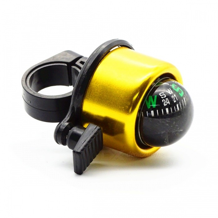 Mini Aluminium Alloy Bicycle Bell with Compass - GoldenForm  ColorGoldenQuantity1 DX.PCM.Model.AttributeModel.UnitMaterialABS + Aluminium AlloyTypeBellsPacking List1 x Bell<br>