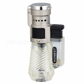 HONEST High-End Metal Torch Jet Windproof Gas Butane Lighter - Transparent
