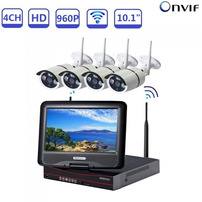 STRONGSHINE 4 Channels H.264 10.1 NVR Network Video Recorder Stystem with 4Pcs 1.3MP IP Cameras - Black + White (US Plug)NVR Cards &amp; Systems<br>Form  ColorBlack + WhitePower AdapterUS PlugModelST-NVR9410NMWKITS-1.3MPMaterialMetal + plasticQuantity1 setSystem ResourcesMulti-channel real-time recording synchronously,Multi-channel real-time playback,USB back upOperating SystemWindows 7,Android 3.0,Android 3.1,Android 3.2,Android 4.0,Linux,Windows 8,iOSRemote MonitoringNoPower AdaptorYesPower SupplyOthers,DC12VMobile Phone PlatformAndroid,iOSWorking Temperature-20~50 ?Working Humidity10%~90%Video StandardsH.264Decode FormatH.264Multi-mode Video InputWireless /wiredMotion DetectionYesAudio Compression FormatAACAudio Input4 channelsAudio  Output1 ChannelVideo Input4 channelsVideo Output4 channelsMonitor Quality4ch 1080/4ch 960P/4ch 720P  Real Time RecordingPlayback Quality1ch 720P or 960P realtime playback.Encode CapabilityH.264Decode CapabilityH.264Record ModeManual,Motion DetectionVideo SearchTime,Date,Channel SearchStorageNoVideo StorageLocal HDD,NetworkBack up ModeNetwork backup,USB portable,HDDUSBUSB 2.0HDD PortSATAForm  ColorBlack + WhitePower AdapterUS PlugPacking List1 x NVR built-in 10.1 inch LCD screen1 x Power supply for NVR1 x Mouse for NVR 4 x 960P IP Cameras4 x Power supply for WIFI IPC1 x User manual of NVR1 x Screw and other parts<br>