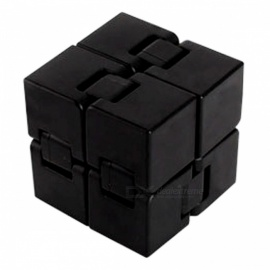 ABS Folding Rubik Magic Cube, Stress Relief Toy - Black