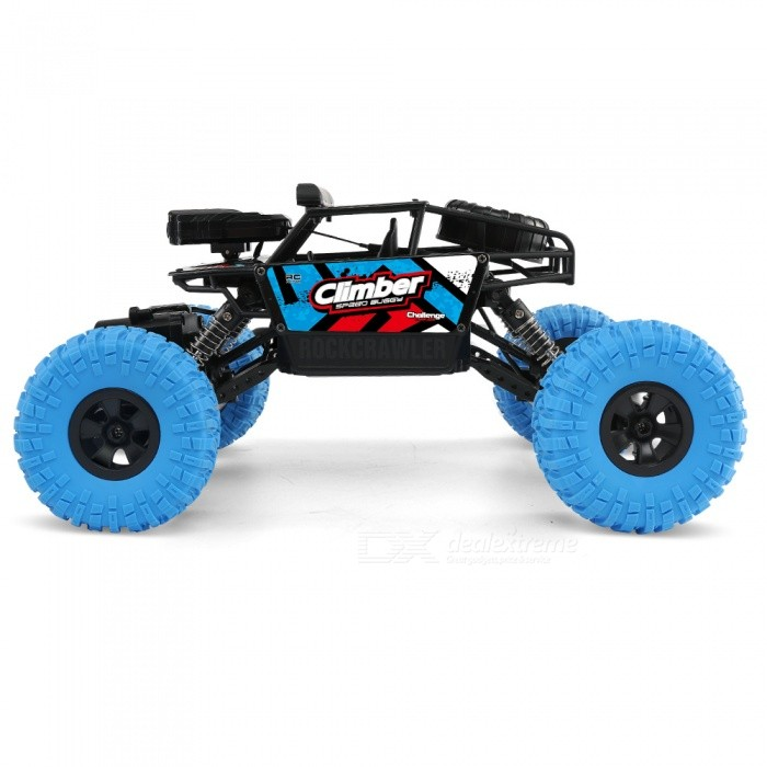 JJRC Q45 1:18 Wi-Fi FPV 2.4G 4WD Off-Road RC Climbing Car RTR Toy with Built-in Camera for Kids - BlueR/C Airplanes&amp;Quadcopters<br>Form  ColorSapphire BlueModelQ45MaterialABSQuantity1 DX.PCM.Model.AttributeModel.UnitShade Of ColorBlueGyroscopeYesChannels Quanlity6 DX.PCM.Model.AttributeModel.UnitFunctionRight,Others,Functions: Climb,Forward / Turn light,Forward/backward,Photo Image,Turn left/right,Video,WiFiRemote TypeRadio ControlRemote control frequency2.4GHzRemote Control RangeR/C Distance: About 30m Wifi Distance: About 20 DX.PCM.Model.AttributeModel.UnitSuitable Age 13-24 months,Grown upsCameraYesCamera PixelOthers,480P HD CameraLamp YesBattery TypeLi-ion batteryBattery Capacity4.8V 700 DX.PCM.Model.AttributeModel.UnitCharging TimeAbout 3 DX.PCM.Model.AttributeModel.UnitWorking TimeAbout 15-20 DX.PCM.Model.AttributeModel.UnitRemote Controller Battery TypeAARemote Controller Battery Number4*Not Included)Remote Control TypeWirelessModelMode 2 (Left Throttle Hand)CertificationCEPacking List1 x RC Car (Battery Included)1 x Transmitter1 x English Manual1 x Phone Holder<br>