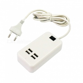 Portable 15W 4-Port USB Charging Power Strip - EU Plug (AC100-240V)