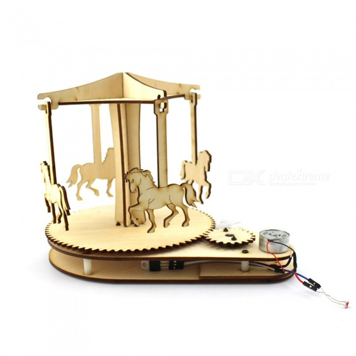 DIY Light Controlled Hand-Made Wooden Carousel Toy for KidsEducational Toys<br>Form  ColorWood ColorMaterialWood materialQuantity1 setSuitable Age 5-7 years,8-11 years,12-15 yearsPacking List1 x DIY Kit Light-controlled wooden carousel<br>