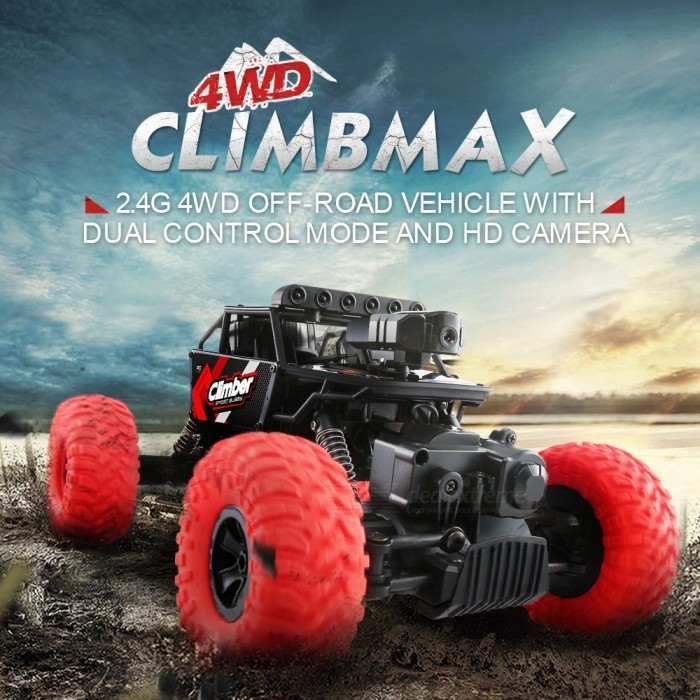 JJRC Q45 1:18 Wi-Fi FPV 2.4G 4WD Off-Road RC Climbing Car RTR Toy with Built-in Camera for Kids - RedR/C Airplanes&amp;Quadcopters<br>Form  ColorRedModelQ45MaterialABSQuantity1 DX.PCM.Model.AttributeModel.UnitShade Of ColorRedGyroscopeYesChannels Quanlity6 DX.PCM.Model.AttributeModel.UnitFunctionRight,Others,Functions: Climb,Forward / Turn light,Forward/backward,Photo Image,Turn left/right,Video,WiFiRemote TypeRadio ControlRemote control frequency2.4GHzRemote Control RangeR/C Distance: About 30m Wifi Distance: About 20 DX.PCM.Model.AttributeModel.UnitSuitable Age 13-24 months,Grown upsCameraYesCamera PixelOthers,480P HD CameraLamp YesBattery TypeLi-ion batteryBattery Capacity4.8V 700 DX.PCM.Model.AttributeModel.UnitCharging TimeAbout 3 DX.PCM.Model.AttributeModel.UnitWorking TimeAbout 15-20 DX.PCM.Model.AttributeModel.UnitRemote Controller Battery TypeAARemote Controller Battery Number4*Not Included)Remote Control TypeWirelessModelMode 2 (Left Throttle Hand)CertificationCEPacking List1 x RC Car (Battery Included)1 x Transmitter1 x English Manual1 x Phone Holder<br>