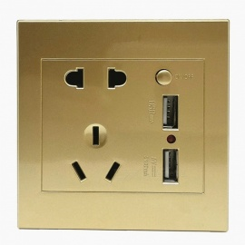 Universal 110-250V ABS 86mm Wall Mount Power Socket Switch with Dual USB Ports 5V 2.1A - Golden
