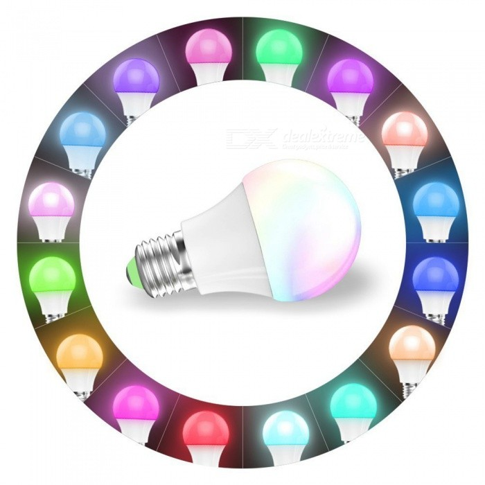 ZHAOYAO E27 4.5W 450LM Smart Wi-Fi Control Multicolor RGB LED Light BulbSmart Lighting<br>Color BINRGBMaterialABSForm  ColorWhiteQuantity1 setPowerOthers,4.5WRated VoltageOthers,100-264 VConnector TypeE27Chip TypeLEDEmitter TypeLEDTotal Emitters1Actual Lumens450 lumensColor Temperature12000K,Others,2700-6500KDimmableYesBeam Angle360 °WavelengthRed: 630-655nm, blue: 435-460nm, green: 520-540nmPacking List1 x Wi-Fi LED Bulb<br>