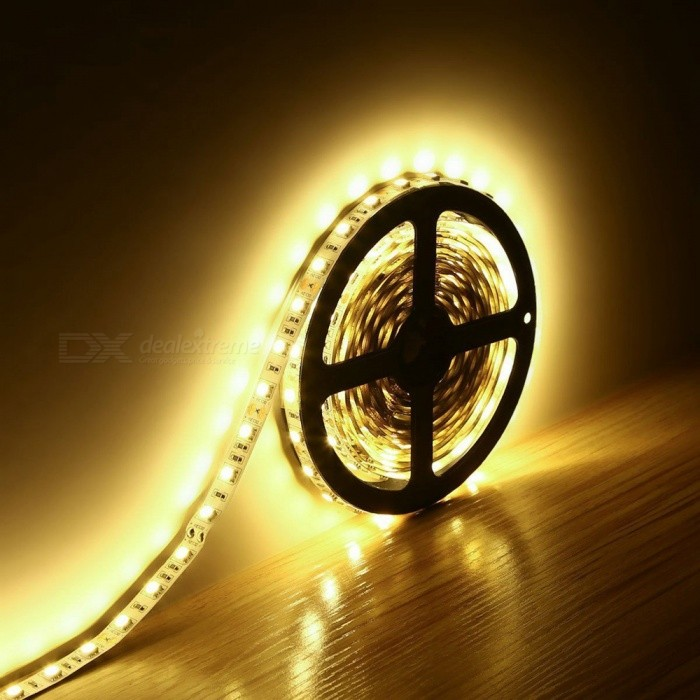 ZHAOYAO Non-Waterproof Highlight 144W DC 12V 5m 5050SMD-600LEDs Light Strip - Warm White5050 SMD Strips<br>Form  ColorWhite + Yellow + Multi-ColoredColor BINWarm WhiteModel5050-600LMaterialCircuit boardQuantity1 DX.PCM.Model.AttributeModel.UnitPowerOthers,144WRated VoltageDC 12 DX.PCM.Model.AttributeModel.UnitEmitter Type5050 SMD LEDTotal Emitters600Color Temperature2800-3500KWavelength0Actual Lumens25-14000 DX.PCM.Model.AttributeModel.UnitPower AdapterOthers,WiringPacking List1 x LED Strip<br>
