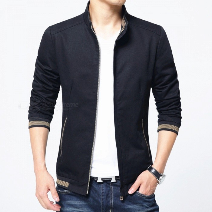 8913 Mens Slim Cotton Casual Fashion Zipper Jacket - Black (M)Jackets and Coats<br>Form  ColorBlackSizeMQuantity1 pieceShade Of ColorBlackMaterialPolyester and cottonStyleFashionTop FlyZipperShoulder Width42.5 cmChest Girth100 cmWaist Girth100 cmSleeve Length62 cmTotal Length64 cmSuitable for Height165 cmPacking List1 x Coat<br>
