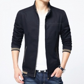 8913 Men's Slim Cotton Casual Fashion Zipper Jacket - Black (2XL)