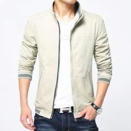 8913 Men's Slim Cotton Casual Fashion Zipper Jacket - Khaki (L)