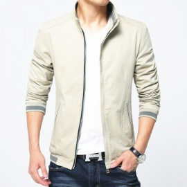 8913 Men's Slim Cotton Casual Fashion Zipper Jacket - Khaki (XL)