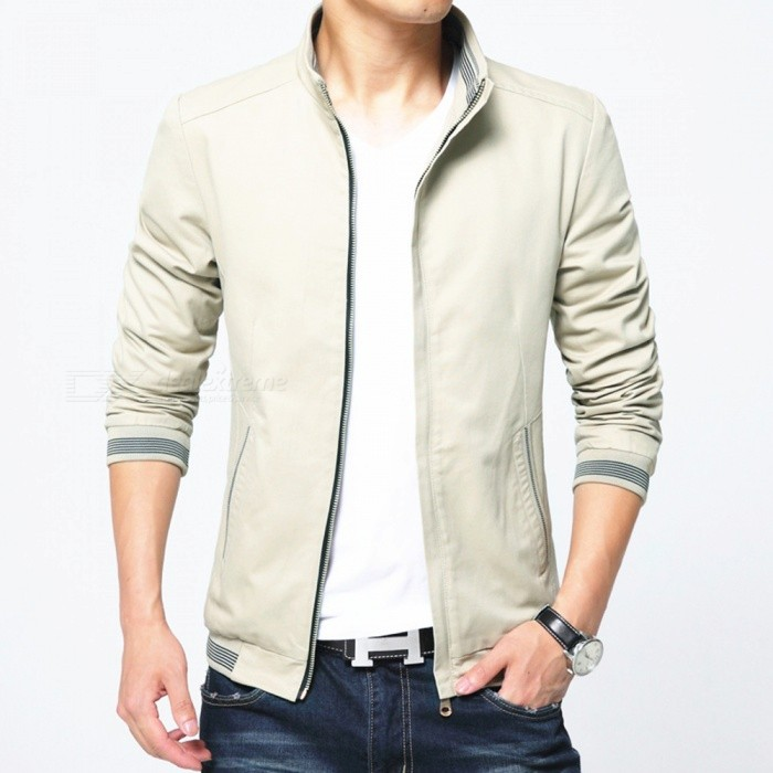8913 Mens Slim Cotton Casual Fashion Zipper Jacket - Khaki (2XL)Jackets and Coats<br>Form  ColorKhakiSizeXXLQuantity1 pieceShade Of ColorBrownMaterialPolyester and cottonStyleFashionTop FlyZipperShoulder Width47 cmChest Girth112 cmWaist Girth112 cmSleeve Length66 cmTotal Length70 cmSuitable for Height180 cmPacking List1 x Coat<br>