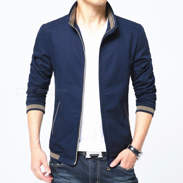 8913 Mens Slim Cotton Casual Fashion Zipper Jacket - Blue (M)Jackets and Coats<br>Form  ColorBlueSizeMQuantity1 pieceShade Of ColorBlueMaterialPolyester and cottonStyleFashionTop FlyZipperShoulder Width42.5 cmChest Girth100 cmWaist Girth100 cmSleeve Length62 cmTotal Length64 cmSuitable for Height165 cmPacking List1 x Coat<br>