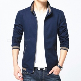 8913 Men's Slim Cotton Casual Fashion Zipper Jacket - Blue (4XL)