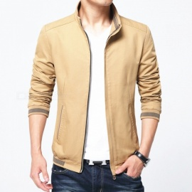 8913 Men's Slim Cotton Casual Fashion Zipper Jacket - Earthly Yellow (XL)