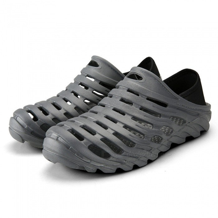 621 Mens Stylish Non-Slip Beach Shoes - Grey (Size 45)Shoes<br>Form  ColorGreyEUR Size45Model621Quantity1 setShade Of ColorGrayMaterialEVAStyleFashionFoot Length275 cmFoot Girth10-15 cmHeel Height2 cmPacking List1 x Shoes1 x Box<br>