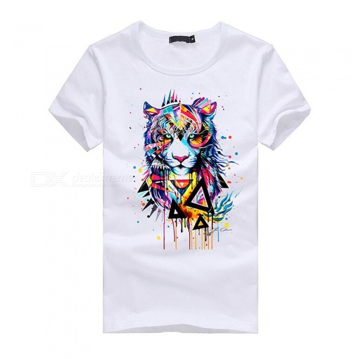 3D Tiger Pattern Fashion Personality Casual Cotton Short Sleeved T-Shirt for Men - White (L)Tees<br>Form  ColorWhiteSizeLQuantity1 DX.PCM.Model.AttributeModel.UnitShade Of ColorWhiteMaterialCottonShoulder Width48 DX.PCM.Model.AttributeModel.UnitChest Girth96 DX.PCM.Model.AttributeModel.UnitSleeve Length19.5 DX.PCM.Model.AttributeModel.UnitTotal Length67 DX.PCM.Model.AttributeModel.UnitSuitable for Height170 DX.PCM.Model.AttributeModel.UnitPacking List1 x Short sleeve T-shirt<br>