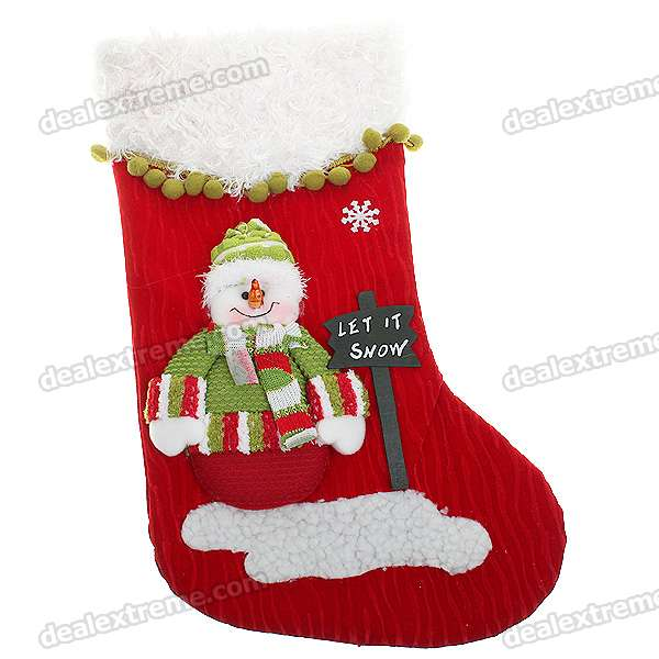 Large Size Festive Christmas Stocking - Snowman Pattern Decoration - Red + Green + White + Grey