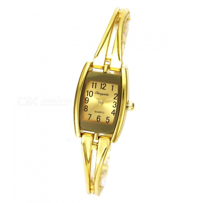 Chaoyada 1152 Womens Elegant Bracelet Quartz Watch - GoldenWomens Bracelet Watches<br>Form  ColorGoldenModel1152Quantity1 setShade Of ColorGoldCasing MaterialElectroplating steelWristband MaterialElectroplating steelSuitable forAdultsGenderWomenStyleWrist WatchTypeFashion watchesDisplayAnalogDisplay Format12 hour formatMovementQuartzWater ResistantFor daily wear. Suitable for everyday use. Wearable while water is being splashed but not under any pressure.Dial Diameter2.1 cmDial Thickness0.9 cmBand Width0.6 cmWristband Length18.8 cmBattery1 x LR626 battery (included)Packing List1 x Watch<br>