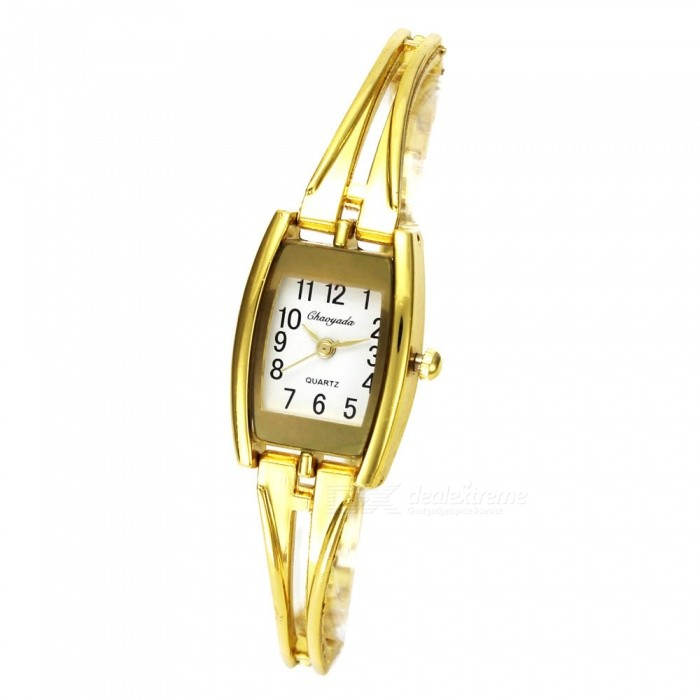 Chaoyada 1152 Womens Elegant Bracelet Quartz Watch - Golden + WhiteWomens Bracelet Watches<br>Form  ColorGolden + WhiteModel1152Quantity1 DX.PCM.Model.AttributeModel.UnitShade Of ColorGoldCasing MaterialElectroplating steelWristband MaterialElectroplating steelSuitable forAdultsGenderWomenStyleWrist WatchTypeFashion watchesDisplayAnalogDisplay Format12 hour formatMovementQuartzWater ResistantFor daily wear. Suitable for everyday use. Wearable while water is being splashed but not under any pressure.Dial Diameter2.1 DX.PCM.Model.AttributeModel.UnitDial Thickness0.9 DX.PCM.Model.AttributeModel.UnitBand Width0.6 DX.PCM.Model.AttributeModel.UnitWristband Length18.8 DX.PCM.Model.AttributeModel.UnitBattery1 x LR626 battery (included)Packing List1 x Watch<br>