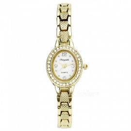 Chaoyada 1153 Rhinestone Bracelet Women's Quartz Watch - Golde + White