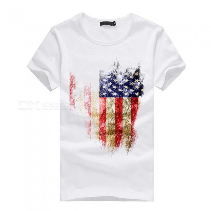 3D American Flag Pattern Fashion Personality Casual Cotton Short Sleeved T-shirt for Men - White (M)Tees<br>Form  ColorWhiteSizeMQuantity1 pieceShade Of ColorWhiteMaterialCottonShoulder Width46 cmChest Girth92 cmSleeve Length19 cmTotal Length65 cmSuitable for Height165 cmPacking List1 x Cotton short-sleeved T-shirt<br>